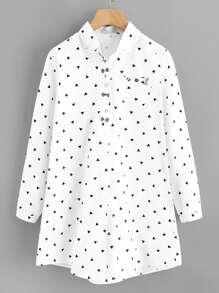 Bow Decor Triangle Print Shirt Dress
