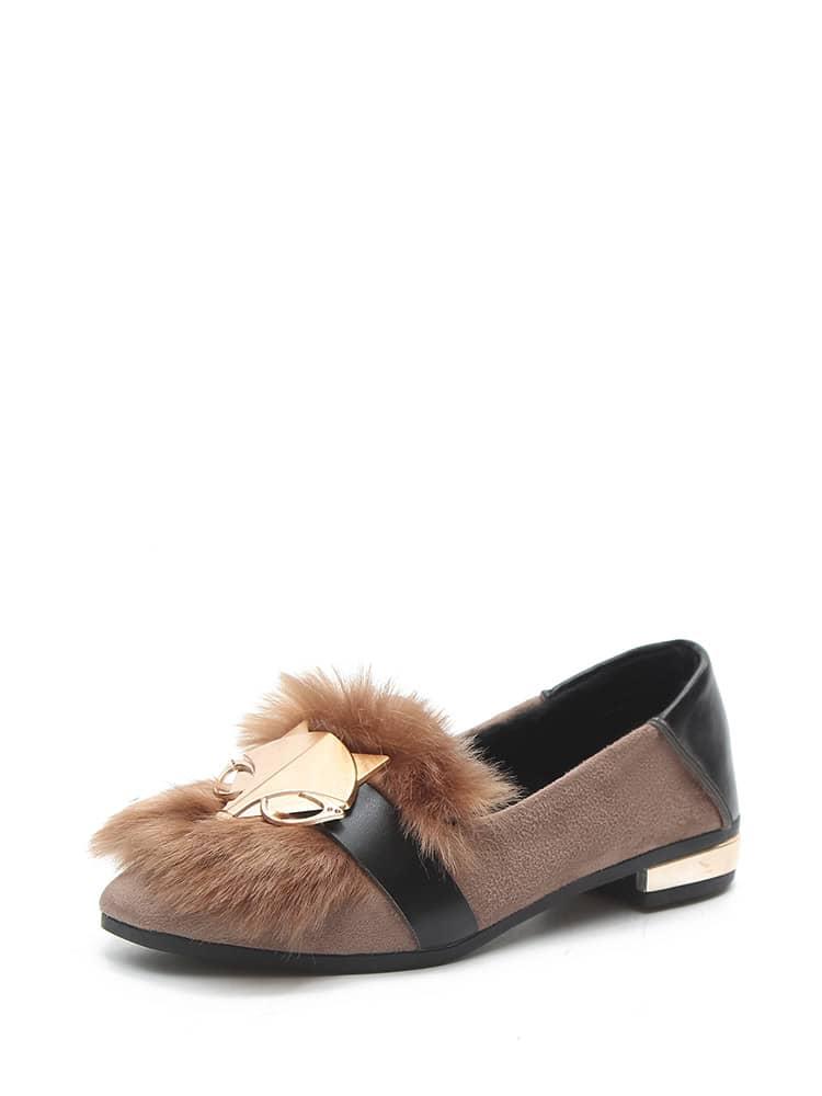 Metal Fox Faux Fur Loafers