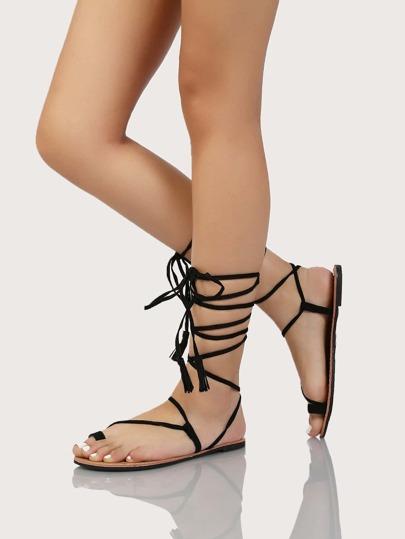 Faux Suede Tie Up Sandals BLACK