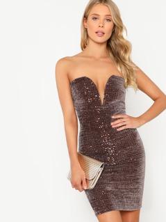 Strapless Sequin Bodycon Mini Dress BROWN