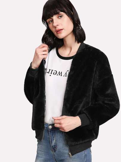Zipper Up Front Fuzzy Jacket