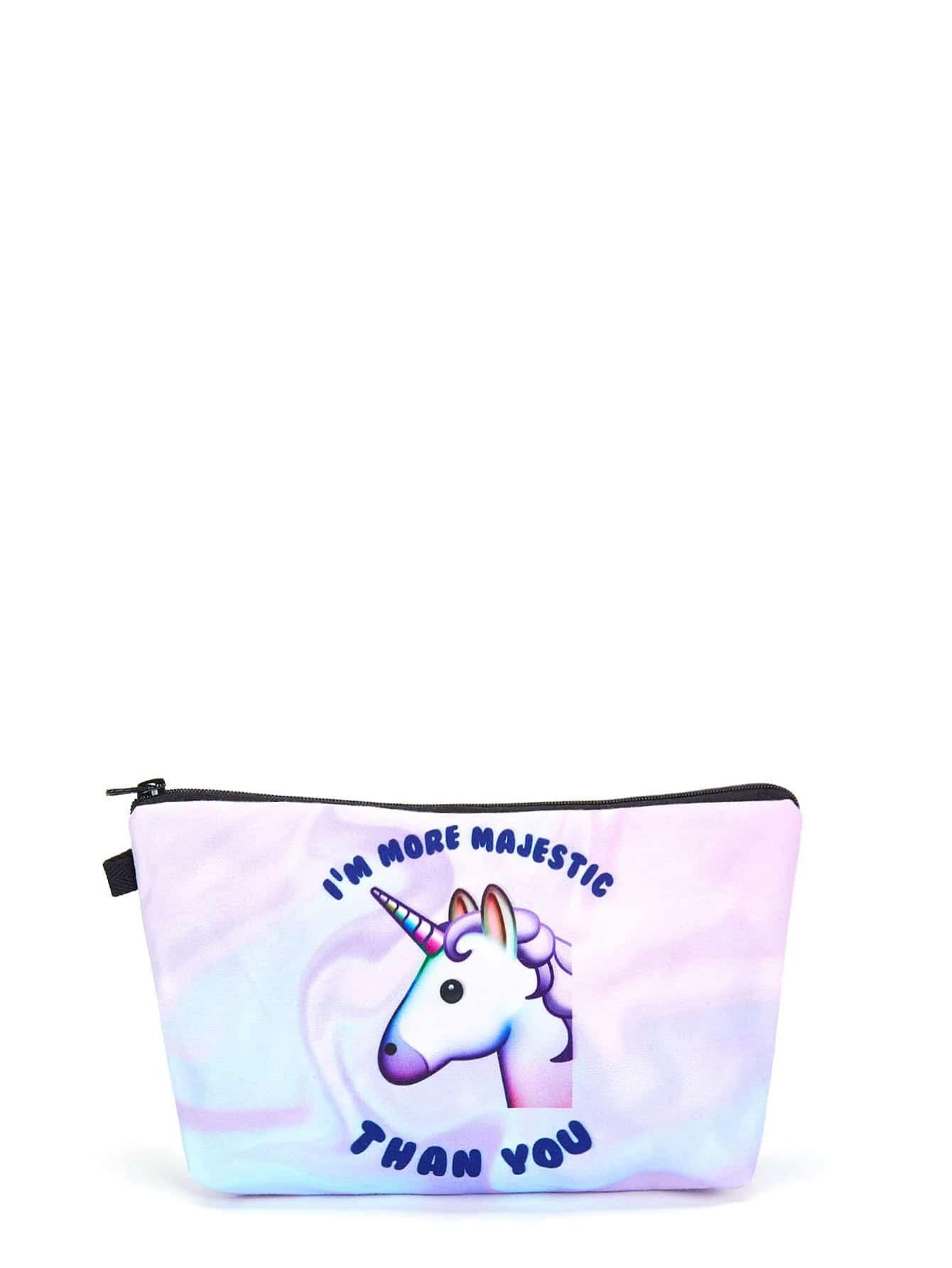 Slogan & Animal Print Makeup Bag