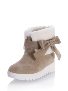Bow Side Flatform Ankle Boots With Faux Fur