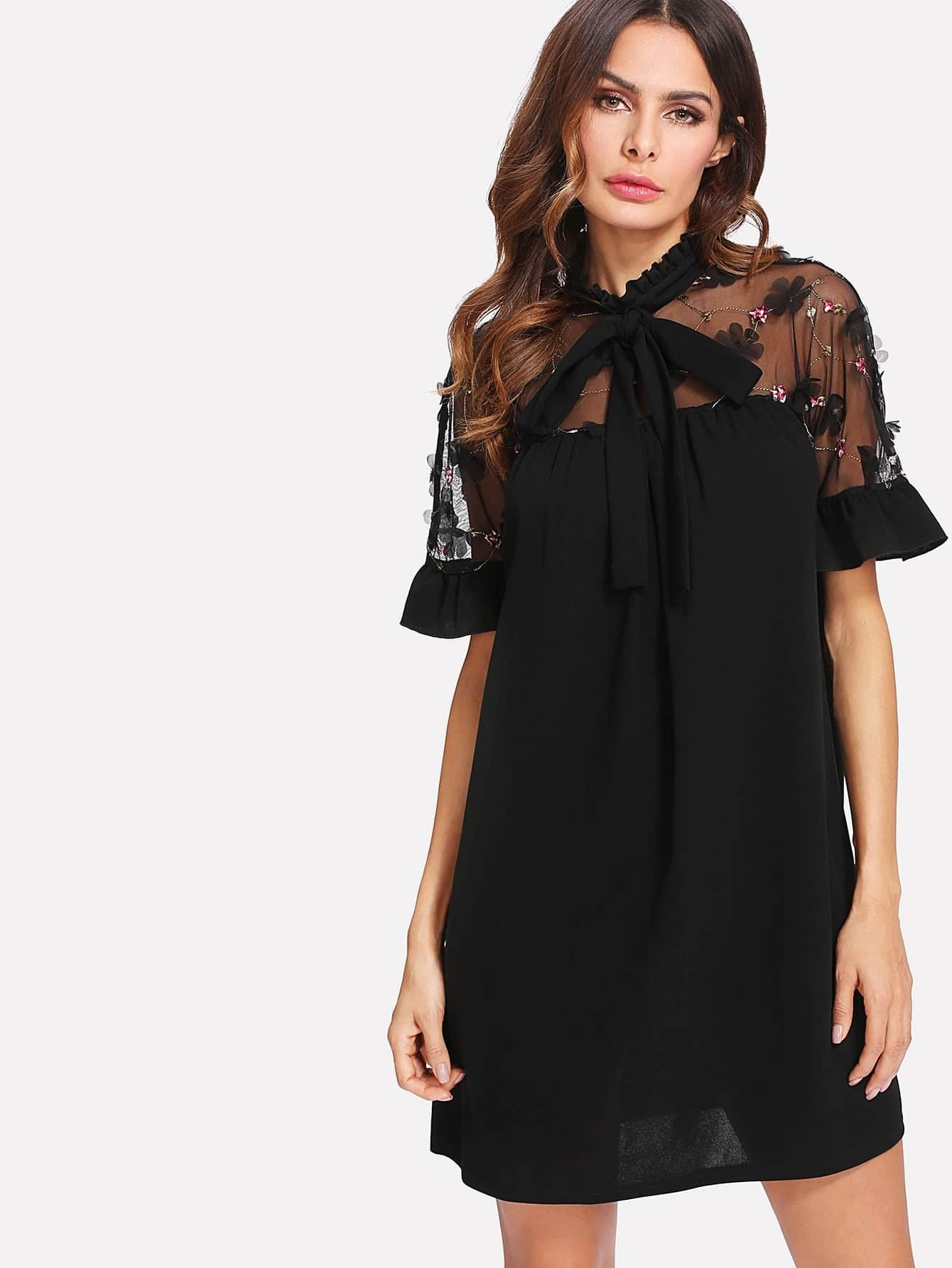 Bow Tie Embroidered Mesh Shoulder Dress contrast embroidered mesh yoke bow tie striped blouse