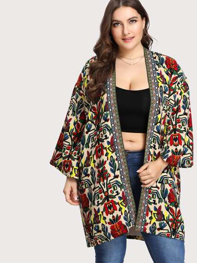 Open Front Flower Print Coat