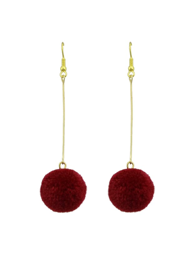Red Long Chain With Ball Dangle Earrings For Women rhinestone ball hook long chain earrings