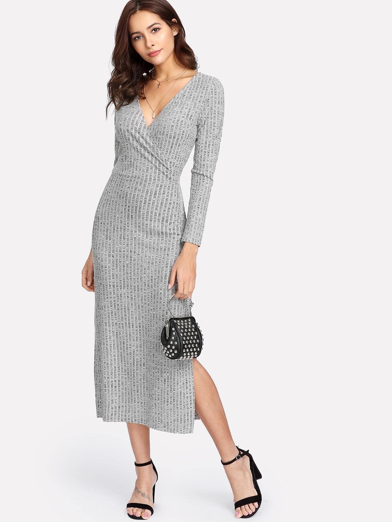 V Neckline Split Side Slub Knit Dress dress171227021