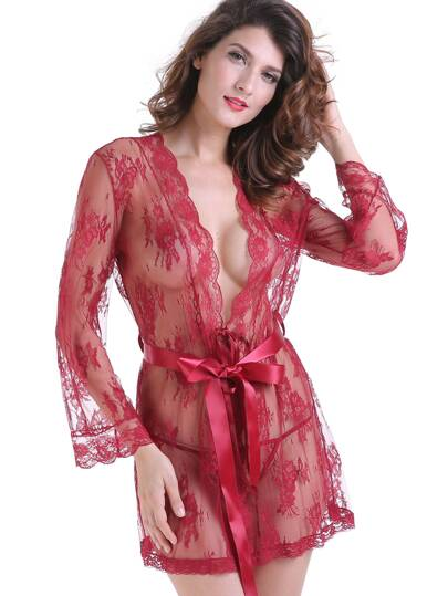 Floral Lace Satin Belt Robe Set