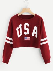 Varsity Striped Raw Hem Crop Sweatshirt