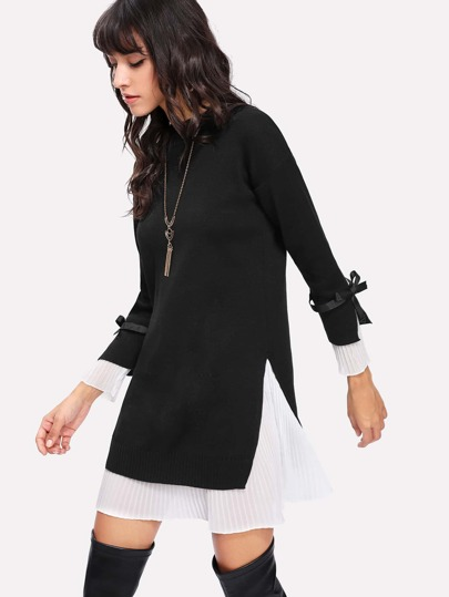 Pleated Hem 2 In 1 Knit Dress