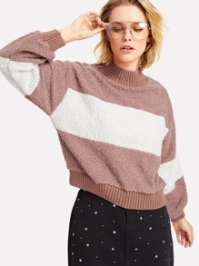 Cut And Sew Fuzzy Pullover
