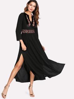 Embroidered Velvet Panel Side Slit Dress