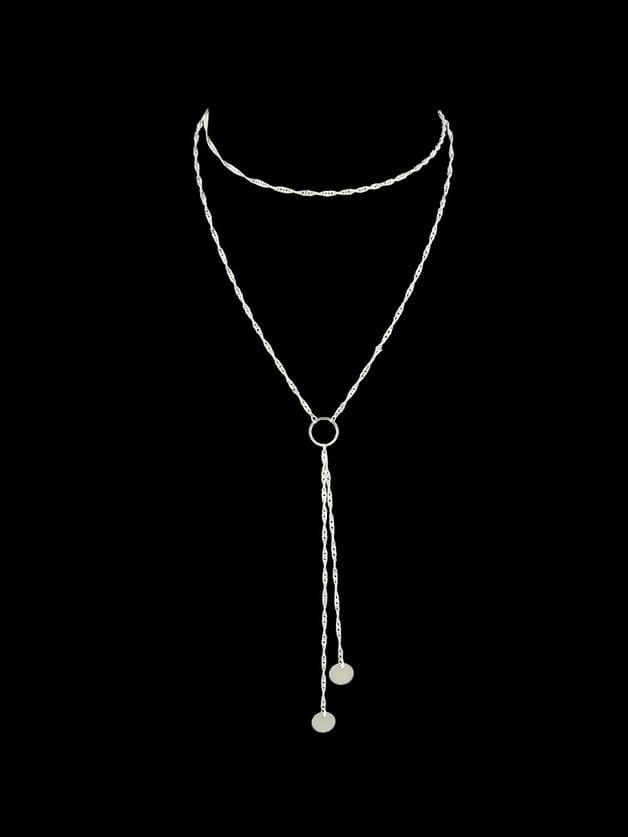 Silver 2Pcs/Set Gold-Color Silver Color Multi Layers Chain Circle Shape Necklace silver multi layers chain with leaf shape charm bracelets
