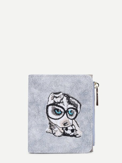 Cartoon Animal Embroidery PU Wallet