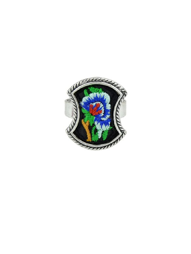 Blue Handmade Embroidery Flower Pattern Geometric Ethnic Rings