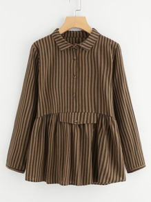 Vertical Striped Babydoll Blouse