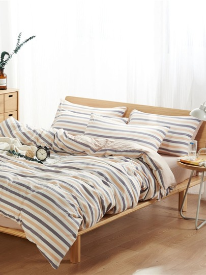 1.8m 4Pcs Striped Print Duvet Cover Set