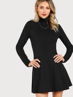 Solid Long Sleeve Flowy Dress