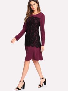 Contrast Eyelash Lace Dress