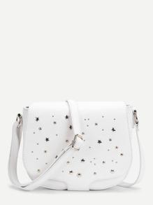 Star & Studded Detail Flap Saddle Bag