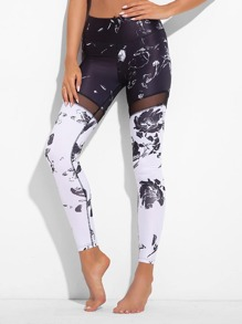 Mesh Insert Abstract Print Leggings