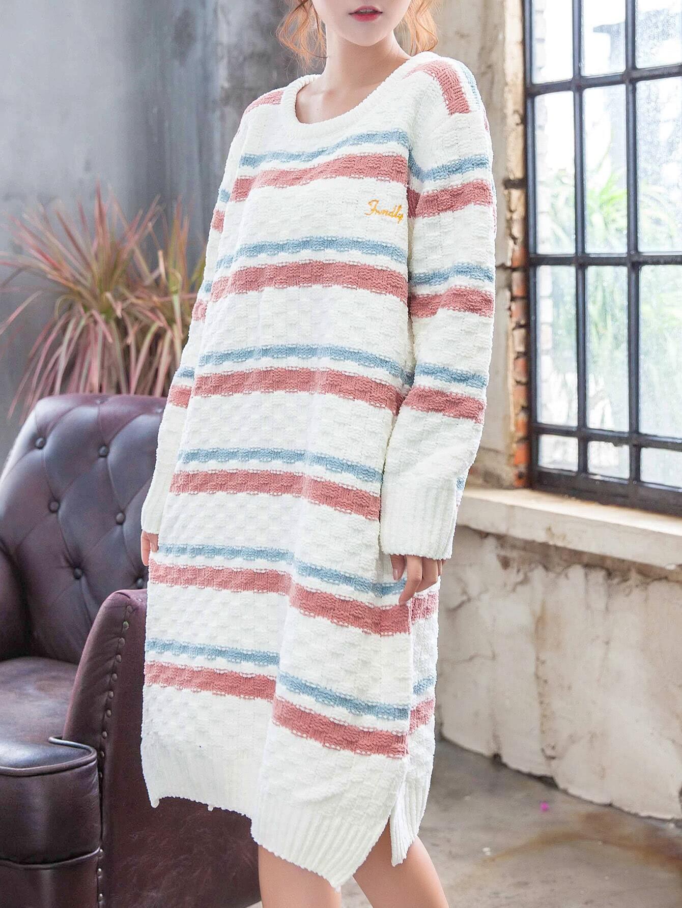 Letter Embroidered Striped Split Side Dress embroidered rose applique side split belt dress