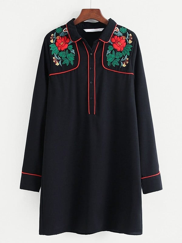Contrast Trim Embroidered Shirt Dress contrast trim embroidered appliques strappy bra