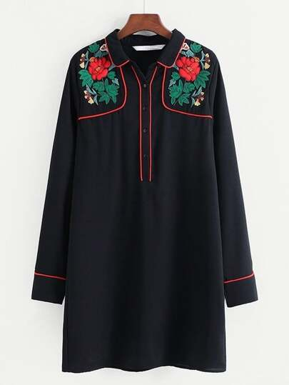 Contrast Trim Embroidered Shirt Dress