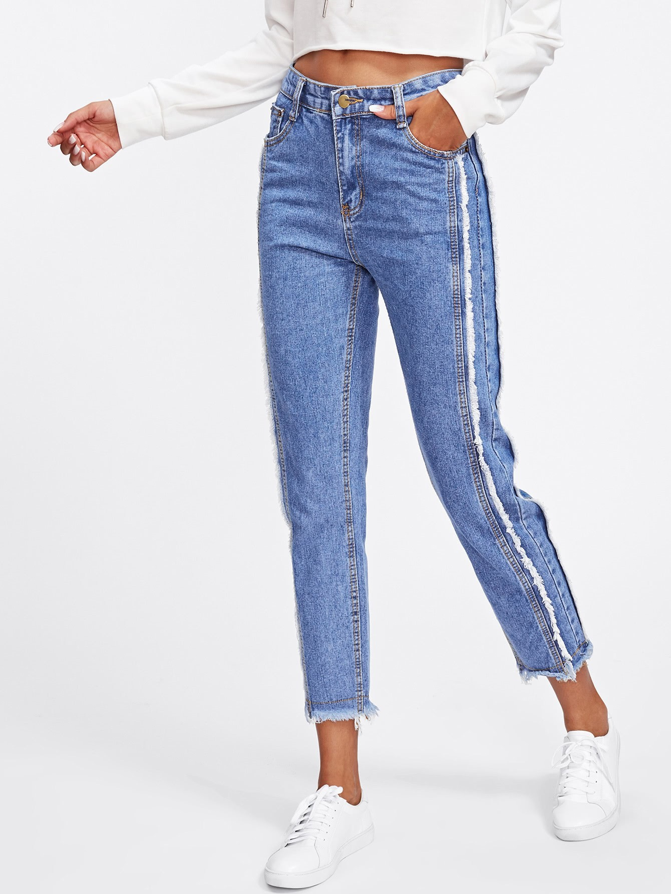 Dual Pocket Back Raw Edge Jeans