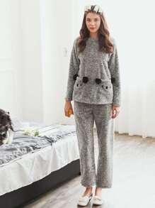 Faux Fur Ball Detail Long Plush PJ Set