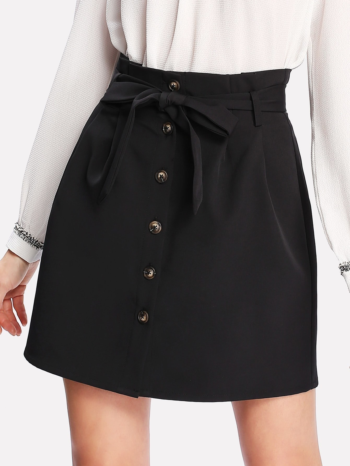 Self Belt Button Up Skirt