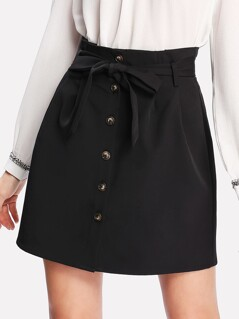 Self Belt Button Up Skirt