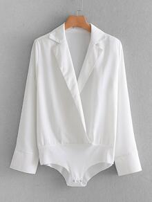 Surplice V Neck Blouse Bodysuit