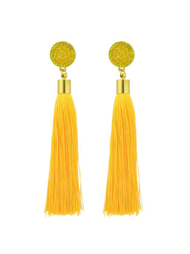 Yellow Ethnic Jewelry Flower Decoration Long Tassel Drop Earrings