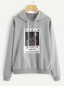 Graphic Print Hooded Sweatshirt