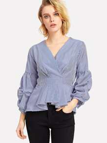 V Neckline Striped Pleated Wrap Top