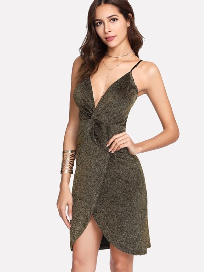 Front Twist Sparkle Cami Dress