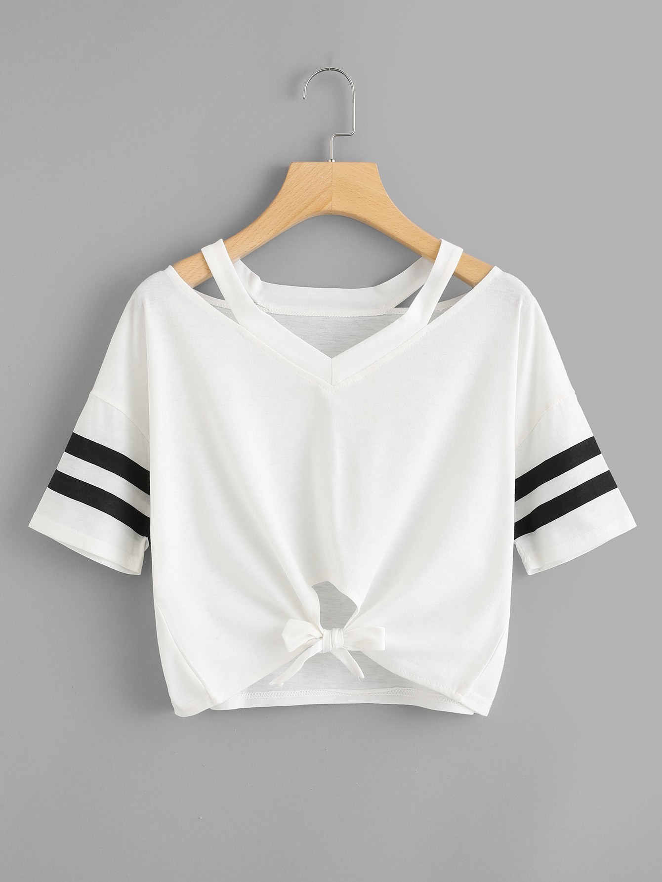 Cut Out Neck Varsity Striped Knot Front Tee knot front cut out ribbed tee