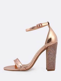 Metallic Ankle Strap Rhinestone Studded Heels ROSE GOLD