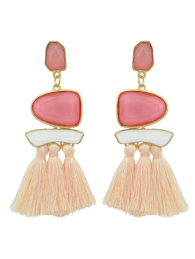 Pink Bohemian Style Ethnic Statement Big Tassel Drop Earrings ethnic hollow out statement drop earrings