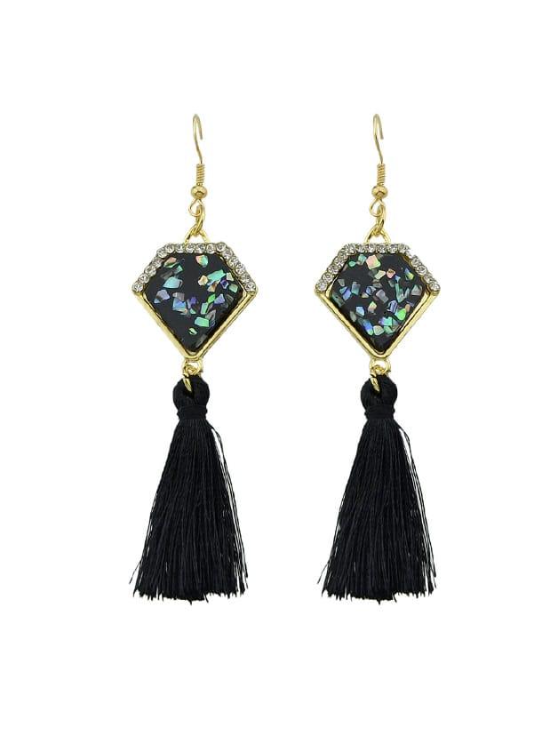 Black Ethnic Boho Style Tassel Geometric Pattern Earrings