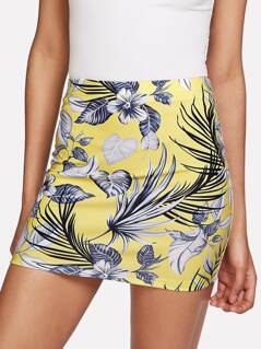 Tropical Print Bodycon Skirt
