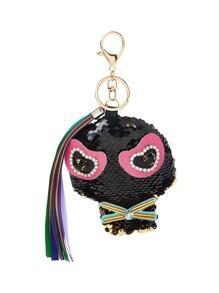 Sequin Little Monster Keychain With Tassel