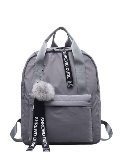 Slogan Ribbon & Pom Pom Decor Backpack