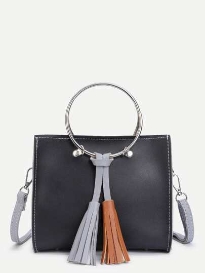 Double Tassel PU Shoulder Bag