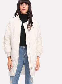 Frill Trim Quilted Padded Coat