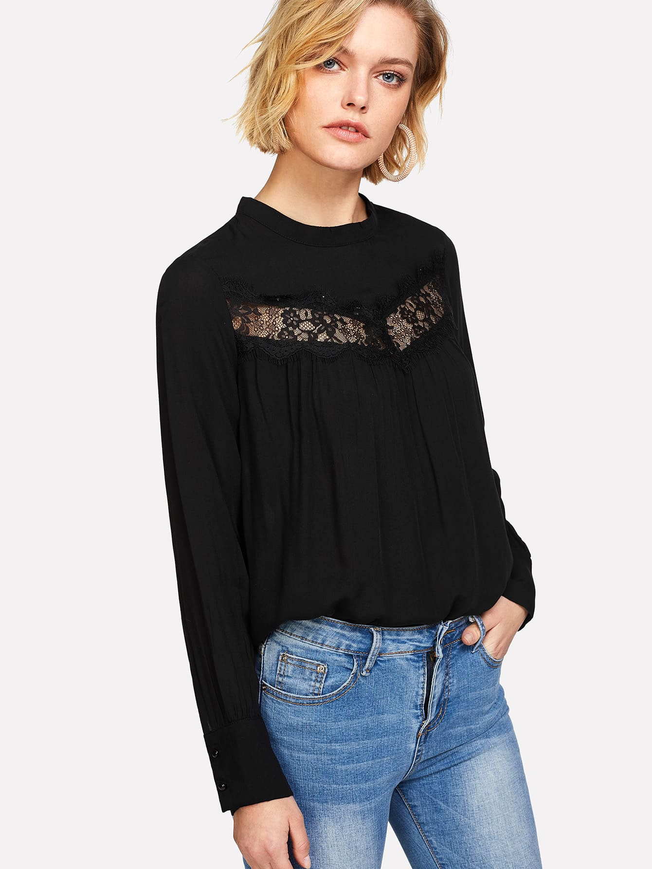 Lace Insert Solid Blouse