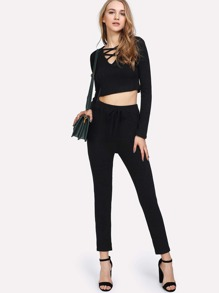 Criss Cross Front Ribbed Top And Drawstring Pants