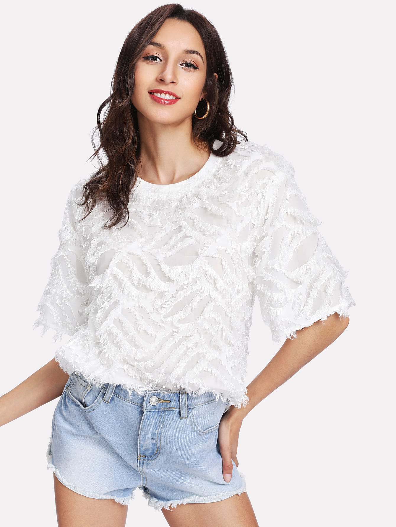 Short Sleeve Fringe Jacquard Top fringe sleeve top