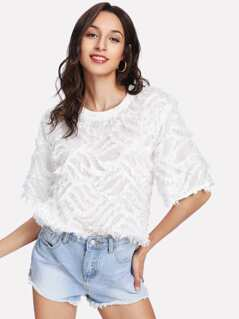 Short Sleeve Fringe Jacquard Top